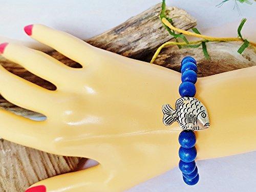 Navy Blue Wooden Beaded Bracelet with Silver Fish Charm Bracelet Femme Handmade Beach Friendship Roll on Bracelet Gift For Marine (Tropical Fish Bracelet)