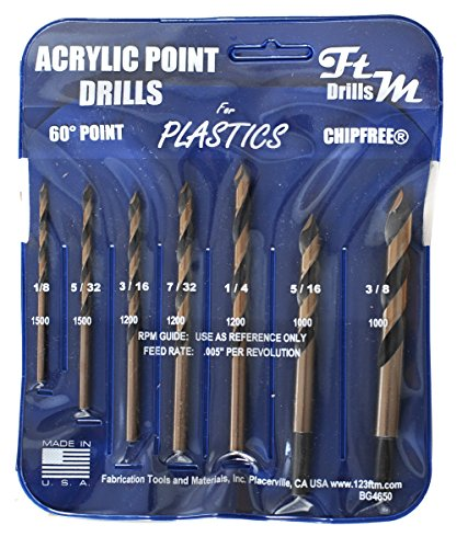 Drill Bits for Plastic (acrylic, plexiglass, ABS, lexan, polycarbonate, pvc) Norseman 7pc Acrylic Point Drill Set in Vinyl Pouch. Includes 1/8