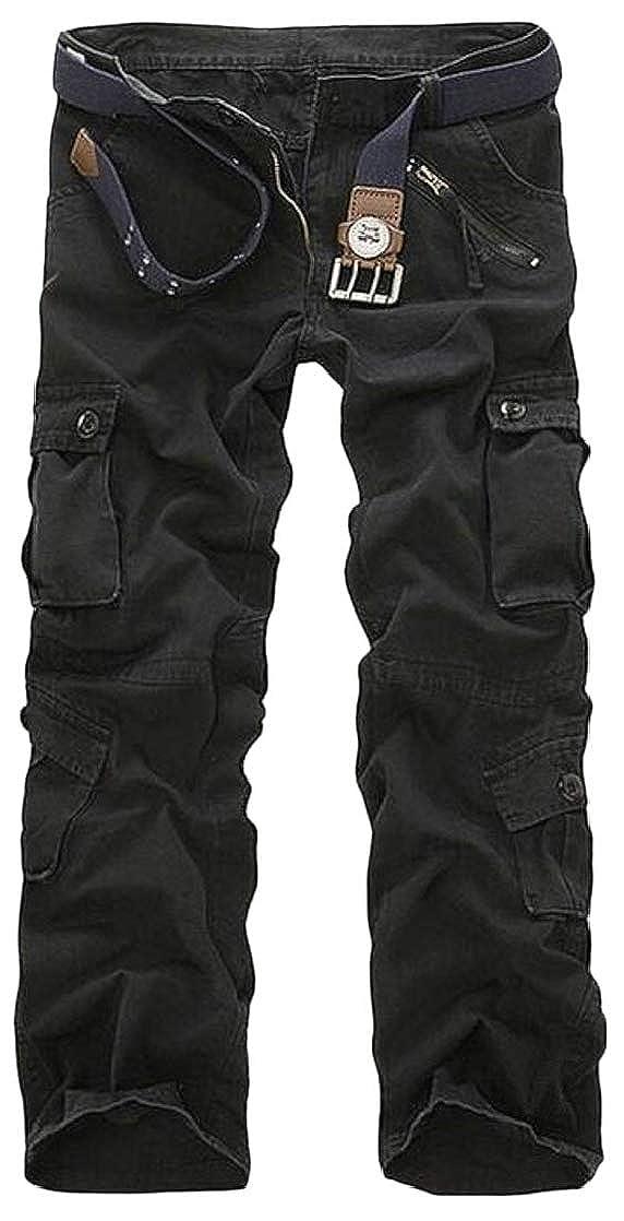 Joe Wenko Mens Washed Simple Pleated Multi Pocket Zip Straight Cargo Pants