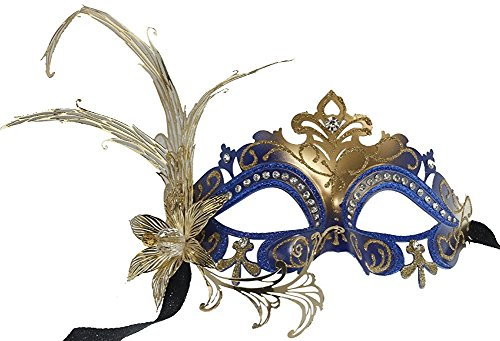 Hagora, Women's Moon Queen Black Gold Tone Fusion Laser Cut Metal Flower Mask,Blue Gold One Size fits Most]()