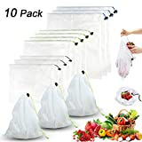 Premium Reusable Mesh/Produce Bags, Set of 10 | Superior Double-Stitched Strength | Lightweight, See-Through, Large, Medium & Small