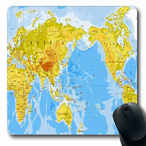 Ahawoso Mousepads for Computers Europe Blue Africa World Map Physical Asia Center Sea Brown Atlantic Ocean Australia Canada City Oblong Shape 7.9 x 9.5 Inches Non-Slip Oblong Gaming Mouse ()