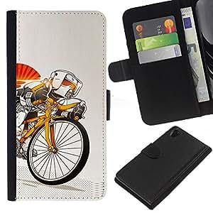 YiPhone /// Tirón de la caja Cartera de cuero con ranuras para tarjetas - Stormtrooper de bicicletas - Sony Xperia Z2 D6502