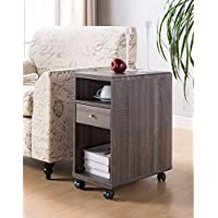 Benzara BM148899 Chairside Table with Display Shelves and Drawer, Gray
