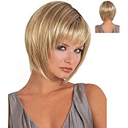 QWERT Co. WANG Short Bob Hair Wigs Straight With Bang Heat Resistant Natural As Real Hair For Women + Free Wig Cap (Golden)