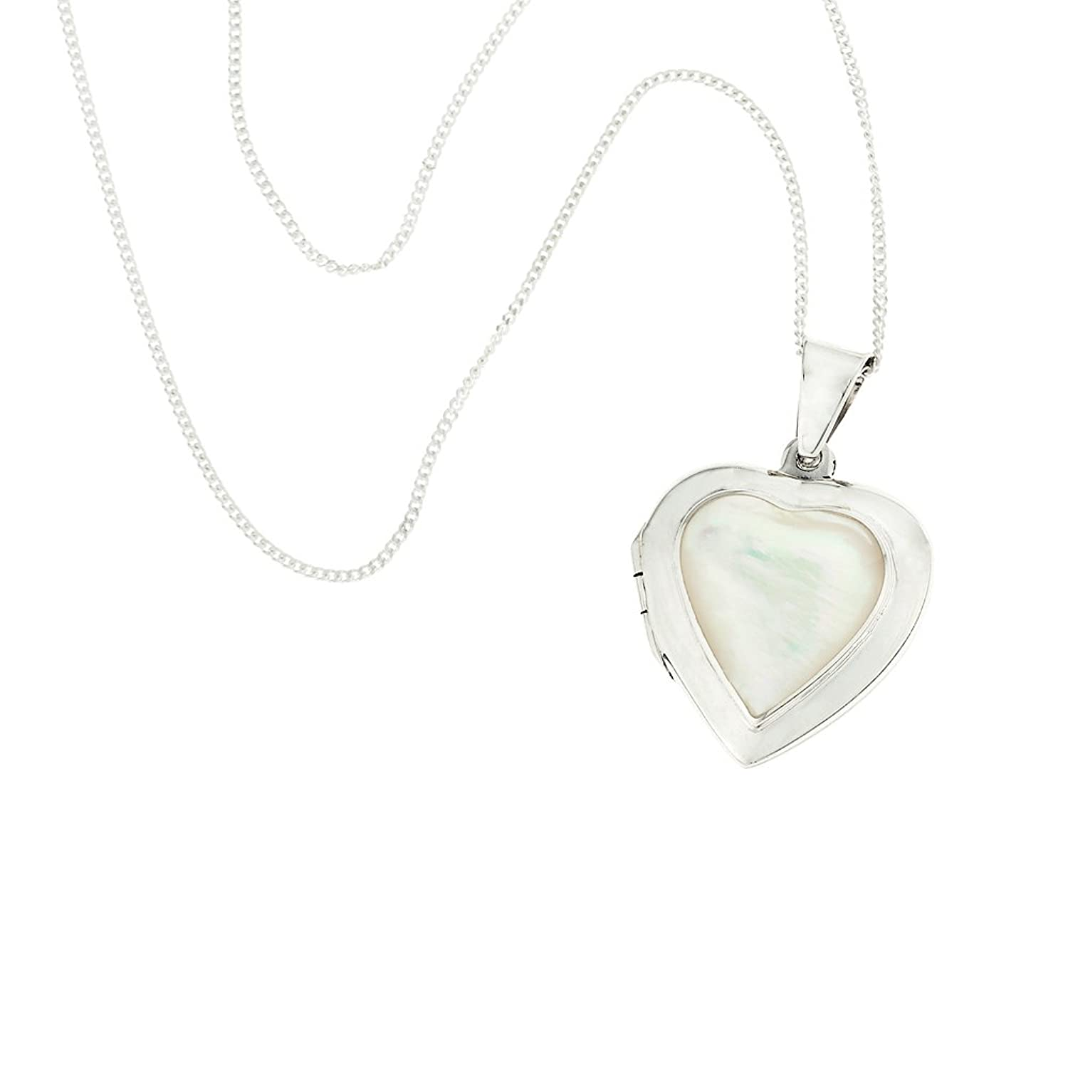 Ornami Mother of Pearl Heart Sterling Silver Locket Necklace with 46 cm Chain Z4E3F