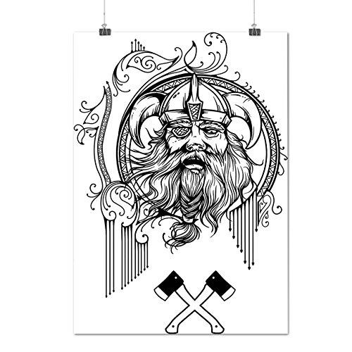 Viking Warrior Face Battle Axe Matte/Glossy Poster A4 (9x12 inches) | Wellcoda (Dragon Battleaxe)