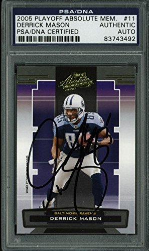 Titans Derrick Mason Signed Card 2005 Playoff Absolute Mem #11 PSA/DNA Slabbed from PRESS PASS COLLECTIBLES