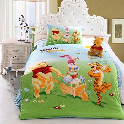 - CASA Children 100% Cotton Winnie and Tigger Duvet cover & Pillow cases & Flat sheet,3 Pieces,Twin Extra-Long