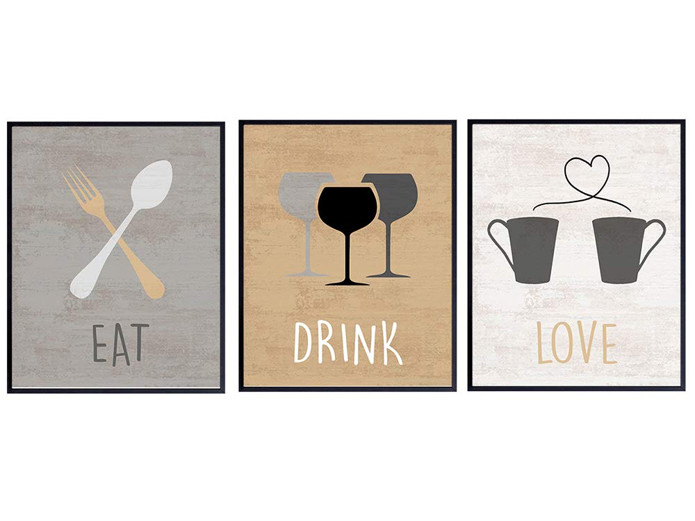 Dining Room, Kitchen, Cafe, Restaurant Wall Art Print Home Decor - Cute Unique Gift for Women, Her, Cooks, Chefs, Anniversary, Birthday - Rustic Vintage Mural - Eat Drink Love Photo Picture Set