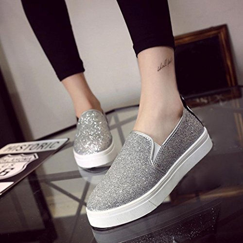 Walk Flat Womens Sikye Loafer Casual Shoes On Slip Sequins Spring Shoes Shoe Silver Lightweight xAYY5qw6