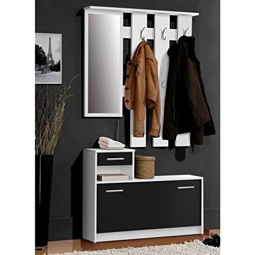 PEILI Vestiaire penderie noir-blanc 180 cm