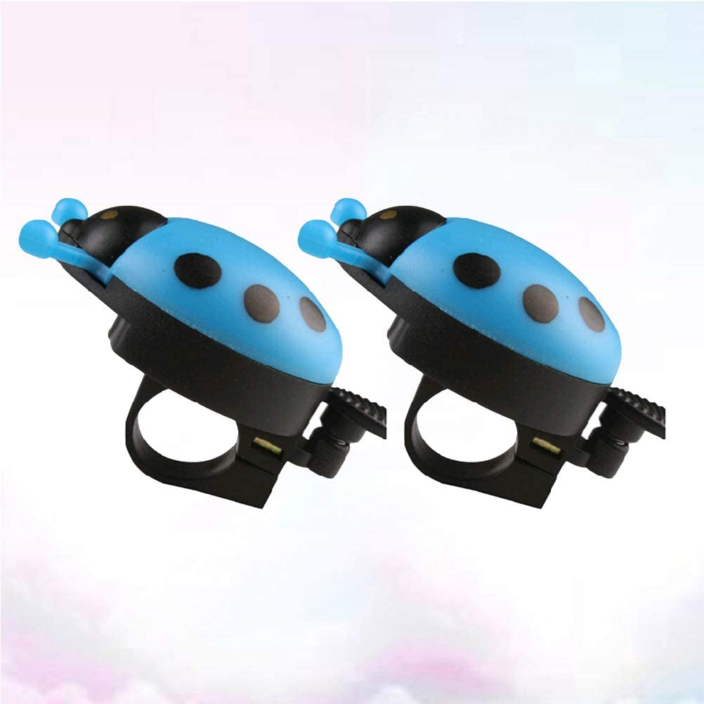 LIOOBO 2pcs Bicyclette klaxon avec la Forme de Coccinelle Enfants v/élo Accessoires Sonnerie sonneries de v/élo Bleu