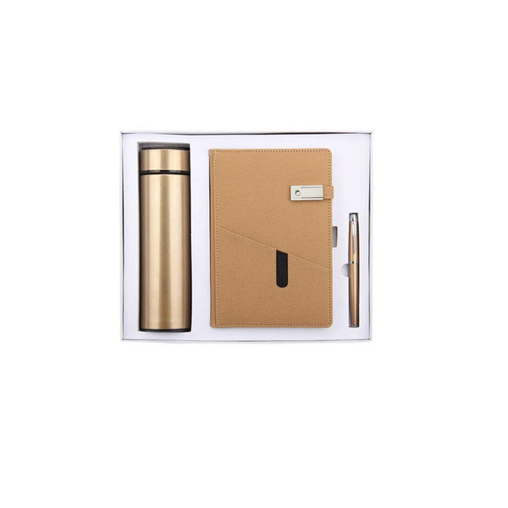 WUZHONGDIAN Notebook Magazine, Exquisite with Insulated Cup Notebook, Pager Gift - for Diary Notes Diary and Plan - Three-Piece Gift Box / 100 Sheets Office Supplies ( Color : Brown )