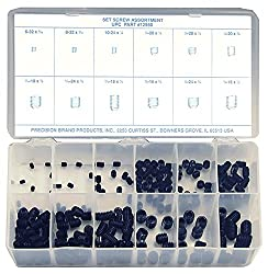 Alloy Steel Set Screw Assortment With Internal Hex Drive & Cup Point (200 Pieces), Plain Finish, Inch, With Case