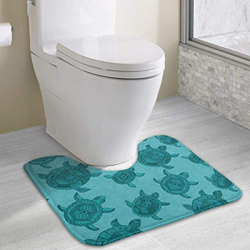 Dealbert Diving Love Sea Turtle Colorful Contour Bath Rugs,U-Shaped Bath Mats,Soft Memory Foam Bathroom Carpet,Nonslip Toilet Floor Mat 19.2″x15.7″