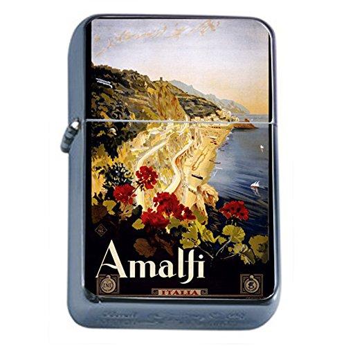 Silver Flip Top Oil Lighter Vintage Poster D-021 ITALY VINTAGE TRAVEL Amalfi 1910