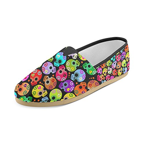 D-story Fashion Sneakers Flats Womens Classic Slip-on Canvas Mocassini Cartoon Skull