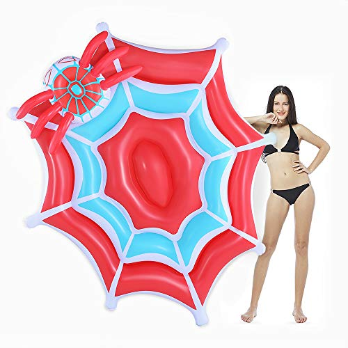 (CMYK Giant Spider Web Party Tube Inflatable Rafts Pool Floats, Summer Beach Lounge Raft, Swimming Pool Party Floaties for Adults and Kids, Patch Kit)