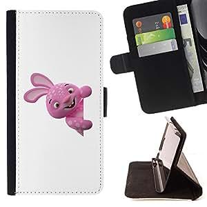 BullDog Case - FOR/Samsung Galaxy S5 Mini, SM-G800 / - / Funny Pink Monster /- Monedero de cuero de la PU Llevar cubierta de la caja con el ID Credit Card Slots Flip funda de cuer