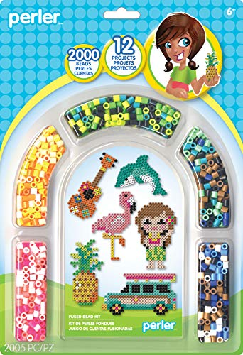 Perler Beads Crafts for Kids 'Tropical Island' Fuse Bead Pattern Kit, 2000pc