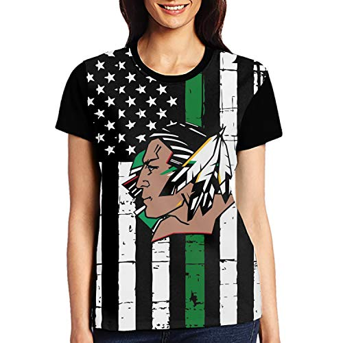 (Women's Short Sleeve Round Neck T-Shirt North Dakota Fighting Sioux Casual Blouse)
