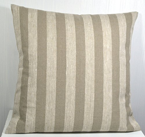 Pillow Cover 18x18 Farmhouse Linen Natural and Tan Medium Stripe