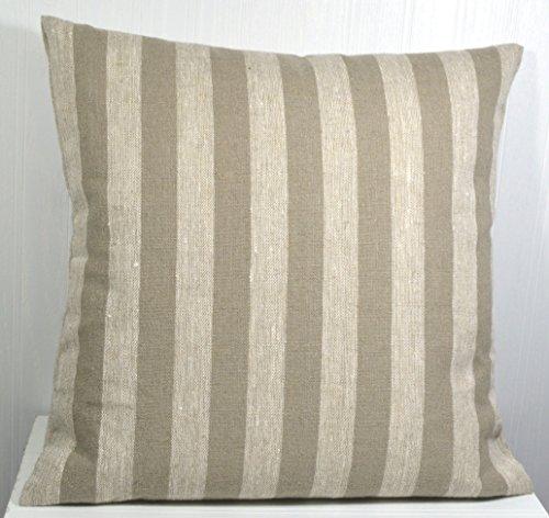 Pillow Cover 18x18 Farmhouse Linen Natural and Tan Medium Stripe