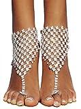 Bienvenu 2 Pcs Foot Jewelry Barefoot Sandals Bridemaids Beach Wedding Jewelry Toe Ring Anklet,Sliver2