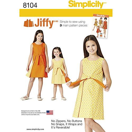 (Simplicity Creative Patterns Simplicity Patterns Child's and Girls' Jiffy Reversible Wrap Dress Size: K5 (7-8-10-12-14), 8104)