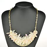 HONEYJOY New Dazzle Colour Crystal Female Clavicle Short Chain Exaggerated Fashion Necklace(beige)