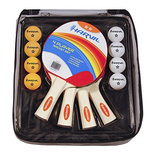 Harvil 4-Player Table Tennis Racket and Ball Set with Nylon Carrying Bag. Includes 4 Rackets and 8 Balls -