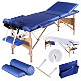 3 Fold 84''L Portable Facial SPA Bed Massage Table Sheet+2 Bolsters+Cradle+Hanger