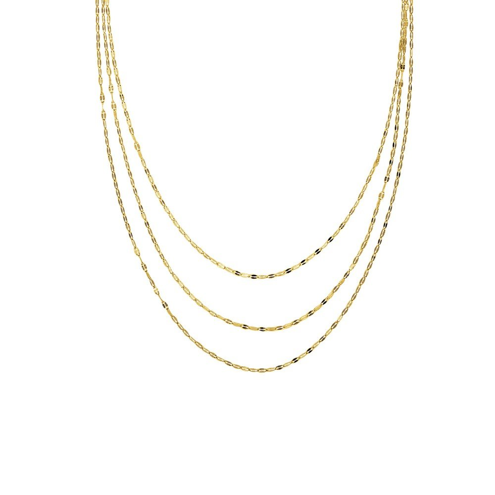 14k Yellow Gold 3 Strand Hammered Mariner Gradual Adjustable Necklace - 20 Inch