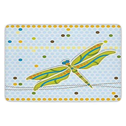 K0k2t0 Bathroom Bath Rug Kitchen Floor Mat Carpet,Dragonfly,Dragonfly Figure Over Little Circular Spots Dots Kids Cartoon Decorative,Lime Green Light Blue,Flannel Microfiber Non-Slip Soft ()