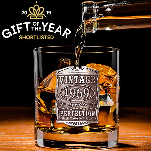 English Pewter Company Vintage Years 1969 50th Birthday or Anniversary Old Fashioned Whisky Rocks Glass Tumbler - Unique Gift Idea For Men [VIN003]]()