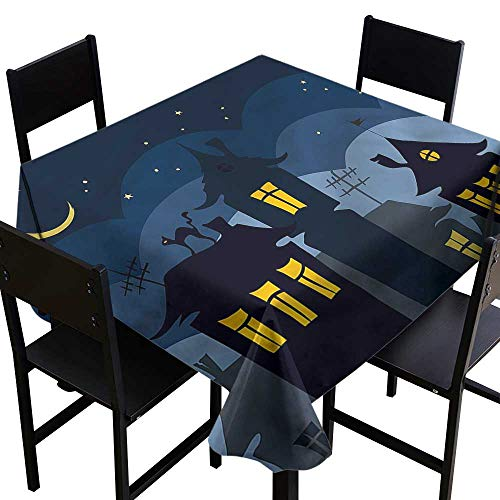 haommhome Washable Table Cloth Halloween Cartoon Town with Cat Table Decoration W50 xL50 Indoor Outdoor Camping -