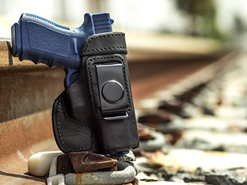 OUTBAGS USA LS2G19 (BLACK-RIGHT) Full Grain Heavy Leather IWB Conceal Carry Gun Holster for Glock 19 G19 9mm / Glock 23 G23 .40 / Glock 32 G32 .357 / Glock 38 G38 .45GAP. Handcrafted in USA.