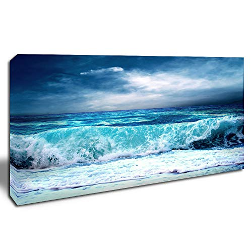 DINGDONG ART - Seascape Canvas Wall Art Ocean Ready to Hang Sea Wave Picture Framed Natural Landscape Picture for Home Office Walls Decor 20