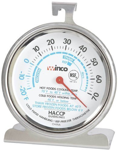 Winco Dial Refrigerator/Freezer Thermometer with Hook and Panel Base, 3-Inch by Winco