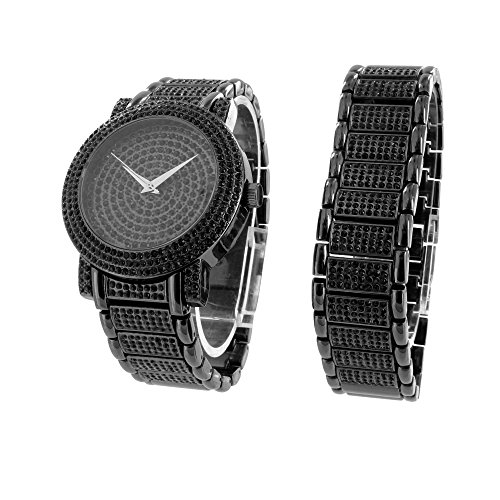 Black Lab Diamond Watch Matching Bracelet Gift Set Iced Out Hip Hop Jojo Jojino by Diamond and Co.