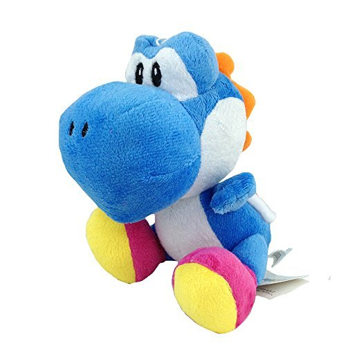 Generic Yoshi Super Mario Bros Blue Yellow Green Red Plush Species Soft Toy Stuffed Animal Figure Doll 6'' (Blue) by Generic