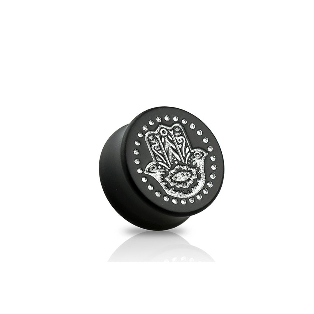 Dynamique Pair Of Double Flared Black Ebony Wood Saddle Plugs With Silver Hamsa Hand Front