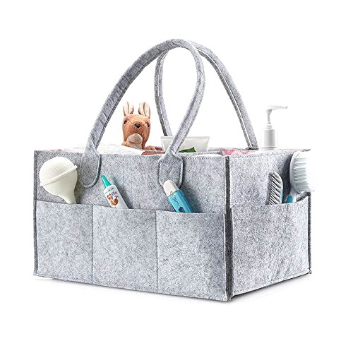 Baby Diaper Caddy Organizer I 13x9x7 inch I Unisex Portable Travel Organizer, Extra Lightweight, Removable Organizer Insert & Neutral Color I Great for Toys, Diaper and Baby Wipes I by Baby Lunna by Baby Lunna