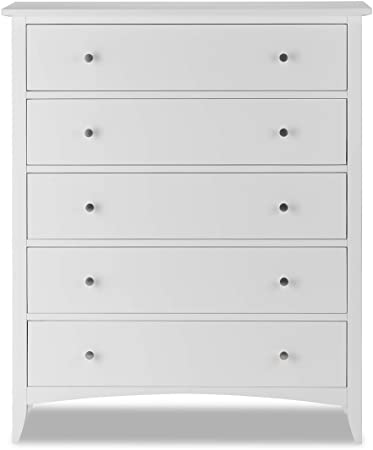 Edward Hopper White 5 Drawer Chest Assembled Easy Glide Metal