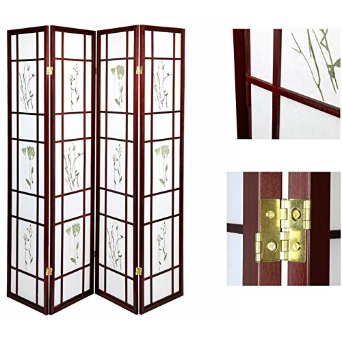 Magshion Shoji Classic Screen Room Divider Privacy Screen Cherry 4 Panel Flowered