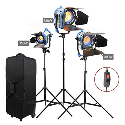 Alumotech Dimmer Built-in Fresnel Tungsten 150W+300W+650W+ Air Cushioned Stand 1100W Spotlight Halogen Lamp Studio Video Light Kit For Camera Photographic Lighting Compatible Bulb