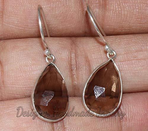 (Smoky Quartz Earrings, 925 Solid Sterling Silver Earring, Smoky Quartz Cut Earring, Brown Stone Jewelry, Smoky Quartz Jewelry, Dangle Earrings, Gift For Her, Pear Gemstone Earrings)