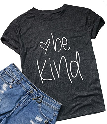 Be Happy Be Kind Funny Graphic T-Shirt Women Casual Letter Print Tee Tops Blouse Size S (Gray) ()