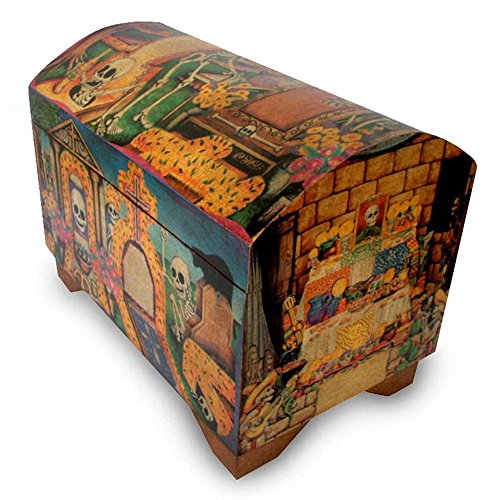 NOVICA Dia de los Muertos Theme Decoupage Wooden Chest, Day Of The -